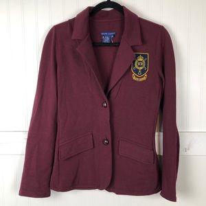 Ralph Lauren | Burgundy Crest Button Front Blazer